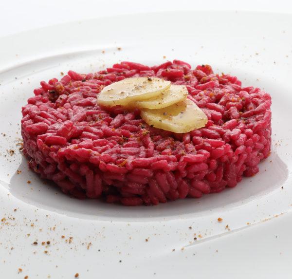Risotto Carnaroli , rapa rossa e polvere di cozze